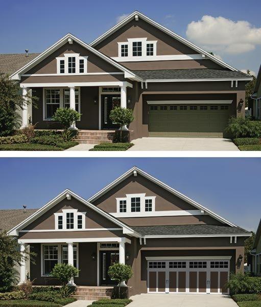 two tone garage door   Outdoor Inspiration   Pinterest ...