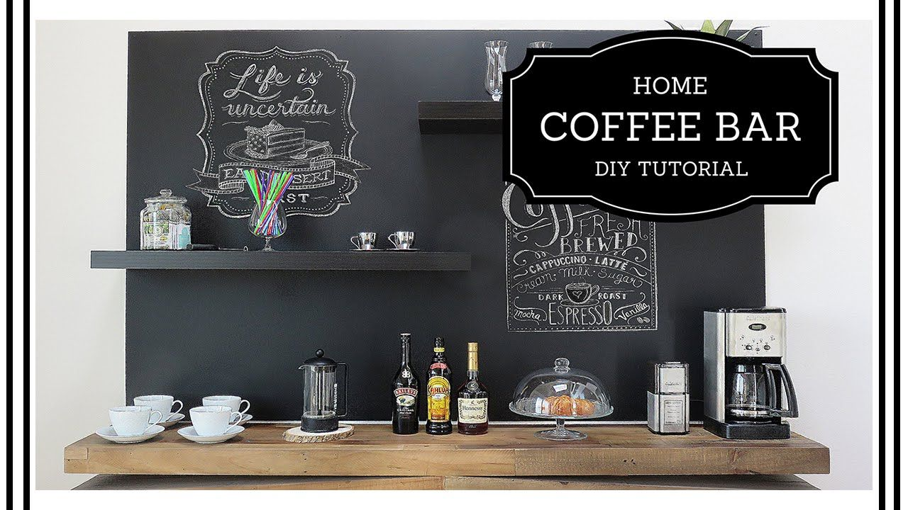 diy home coffee bar redesign a boring wall beginner level youtube diy at home coffee bar. Black Bedroom Furniture Sets. Home Design Ideas