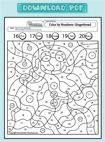 Related Pictures Gingerbread Man Color By Numbers Skole Aktiviteter For Barn Aktiviteter