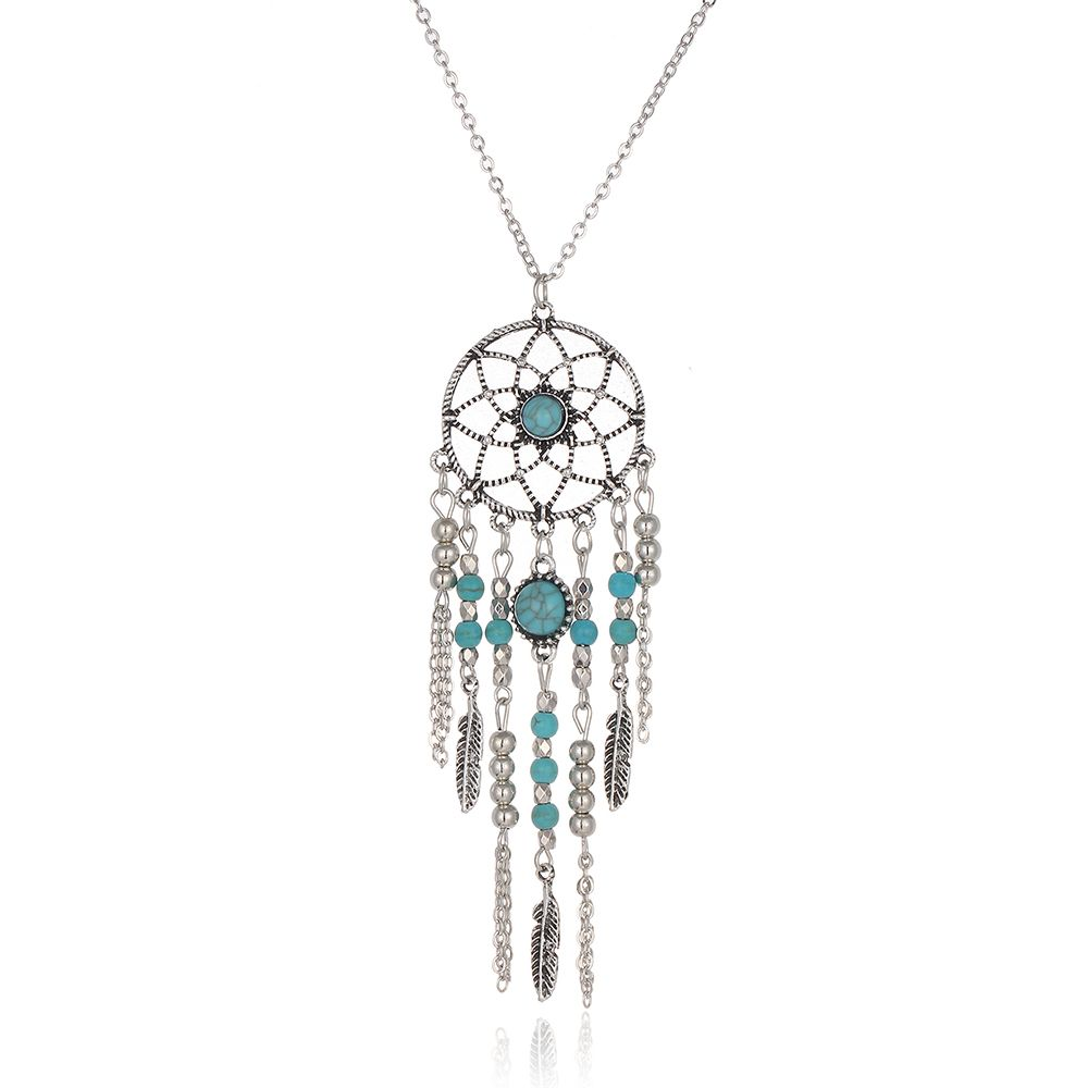 Dream Catcher Feathers Pendant Necklace Long Chain Jewellery for Women (3#) iwJtfvDe