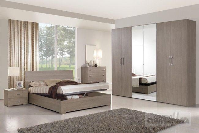 EGOS - Camera da letto matrimoniale colore rovere grigio con armadio ...