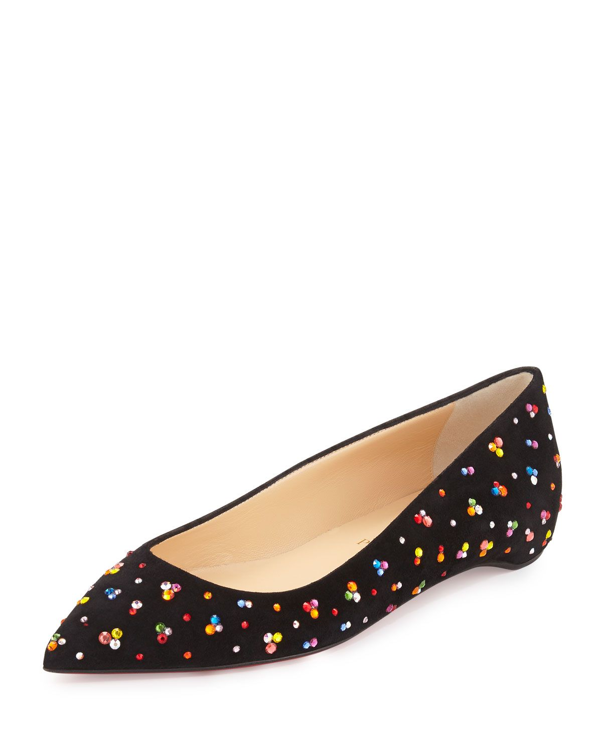 size 40 0a2e4 513d9 Pigalle Follies Embellished Red Sole Skimmer Flat Black ...