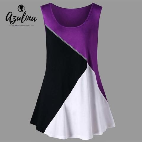 AZULINA Plus Size Color Block Tunic Tank Top Summer Women Tops 2018 O Neck  Sleeveless Top Ladies Clothes Big Size Women Tanks f8ceab18b782