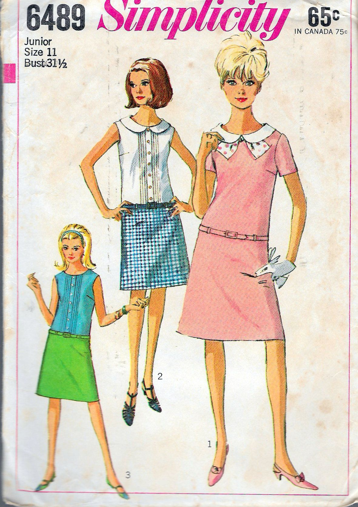 Vintage 1966 Simplicity 6489 Juniors Mod One Piece Dress Sewing Pattern Size 11 Bust 31 1 2 By Rec Vintage Sewing Patterns Vintage Sewing 60s And 70s Fashion