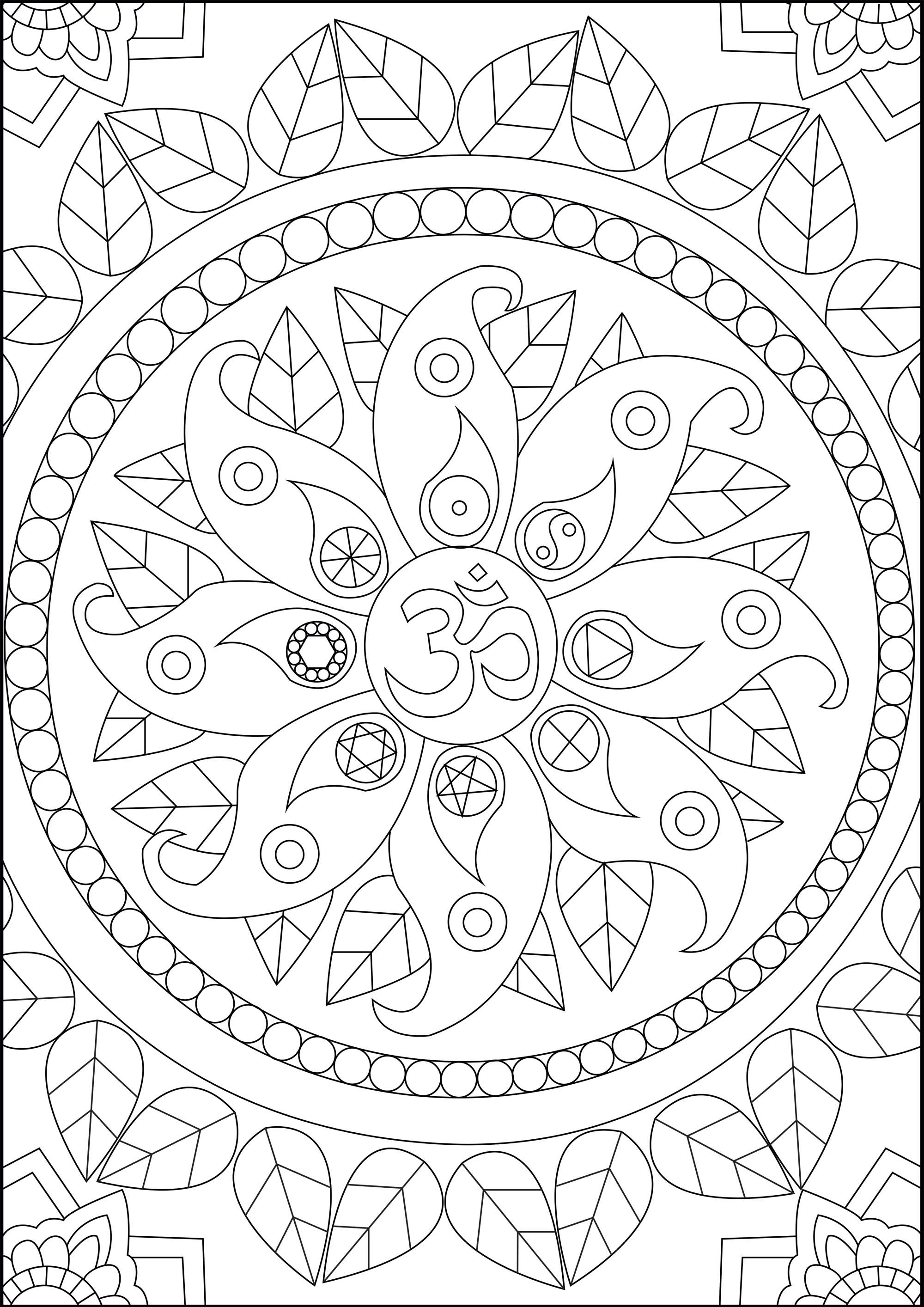 Find Inner Peace With This Coloring Page Featuring Various Zen Symbols Including The Om Om I Mandala Coloring Pages Coloring Pages Paisley Coloring Pages