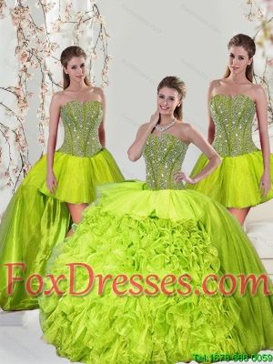 f762072761e 2015 Detachable Beading and Ruffles Yellow Green Dresses for Quince ...