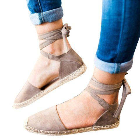 Plus Size Ankle Wrap Espadrille Flat Sandals  PopJulia com is part of Lace up espadrilles flats -