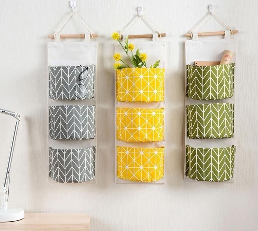 3 Grids Wall Hanging Storage Bag Organizer Toys Container Decor Pocket Pouch