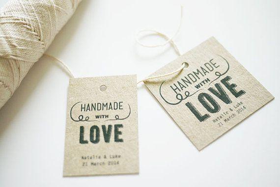 Amusant à la main avec amour mariage faveur Tags par 3EggsDesign