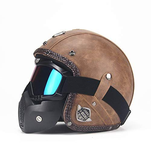 Photo of RONSHIN Unisex PU Leather Helmets 3/4 Motorcycle Chopper Bike Helmet Open Face Vintage Motorcycle Helmet with Goggle Mask(Light brown L) – Wheel And Deals