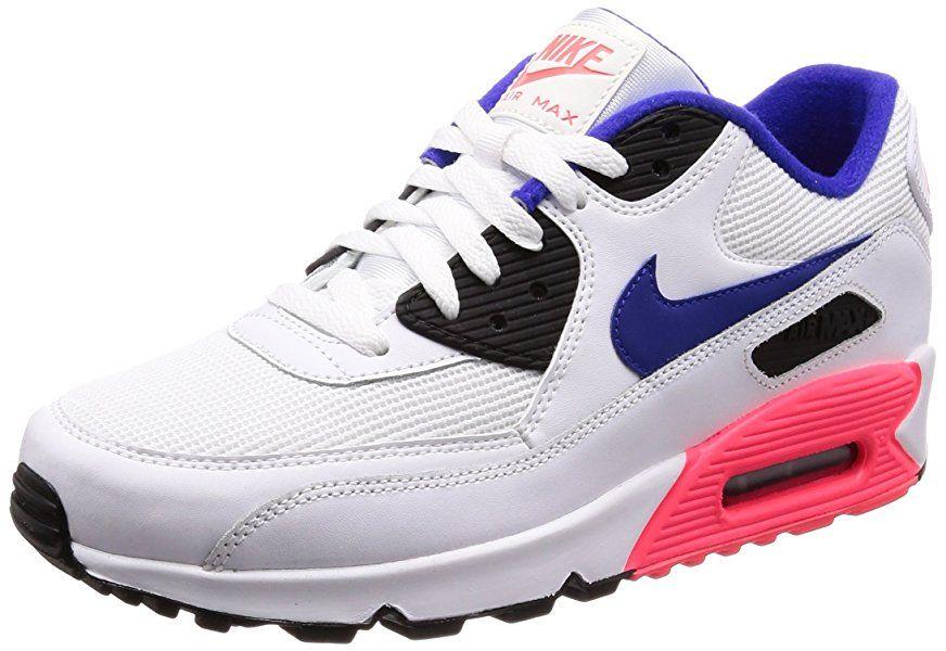meilleure sélection 43bff 87cd6 Nike Air Max 90 Essential, Baskets Homme, Blanc (White/Bleu ...
