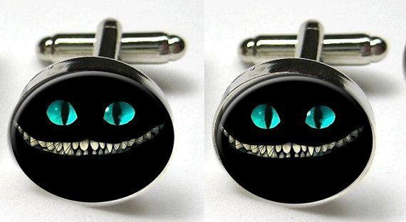 Silver Bezel CuffLinks Glass Round Cheshire Cat Evil Smile Grin Alice in Wonderland Men Wedding. $12,50, via Etsy.