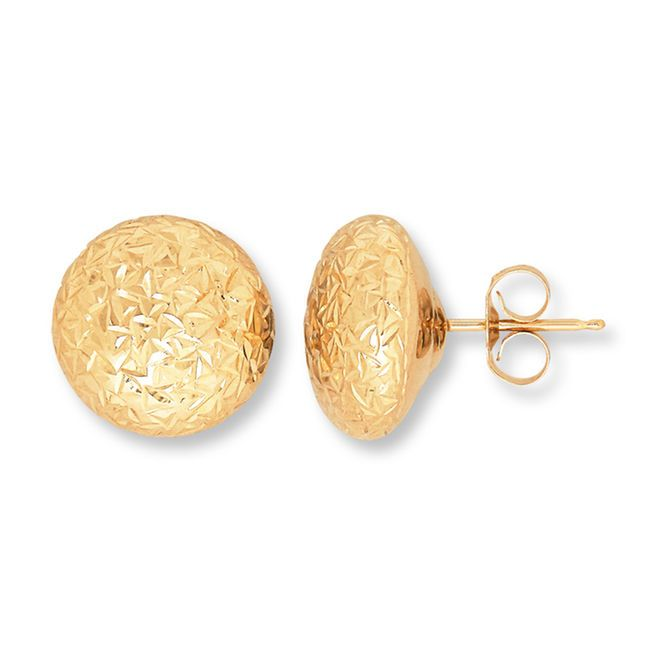 d84746966df6b5 These petite button earrings are styled in 10K yellow gold with a textured  finish. The earrings secure with friction backs.