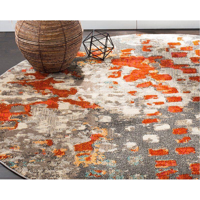 Mistana Indira Gray Orange Area Rug Reviews Wayfair Area