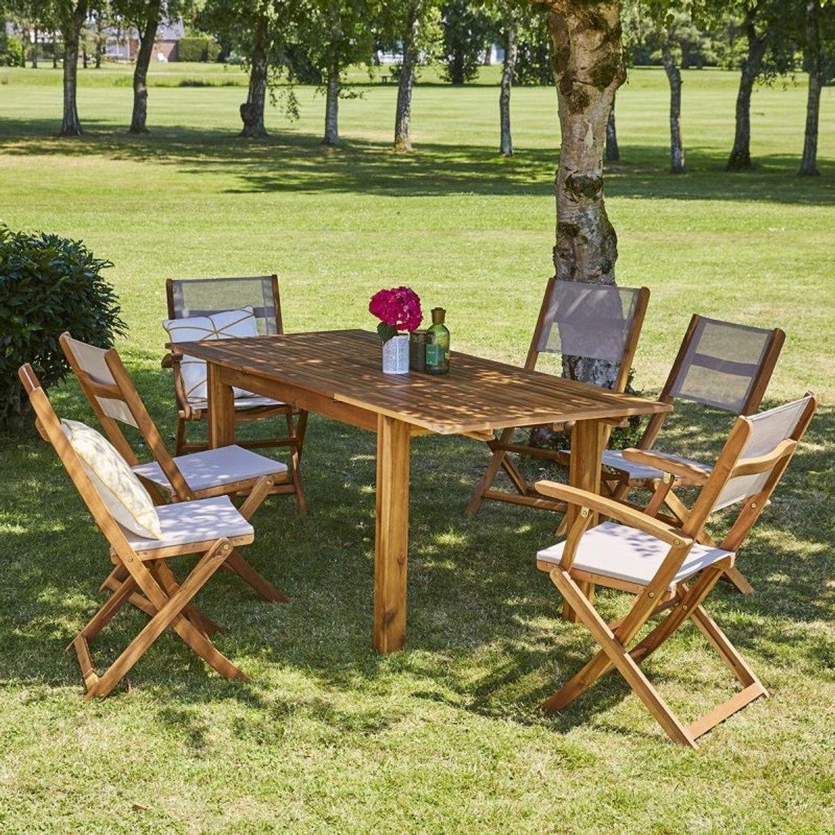 Salon De Jardin En Bois D\'acacia Fsc Extensible 6 À 8 Places ...