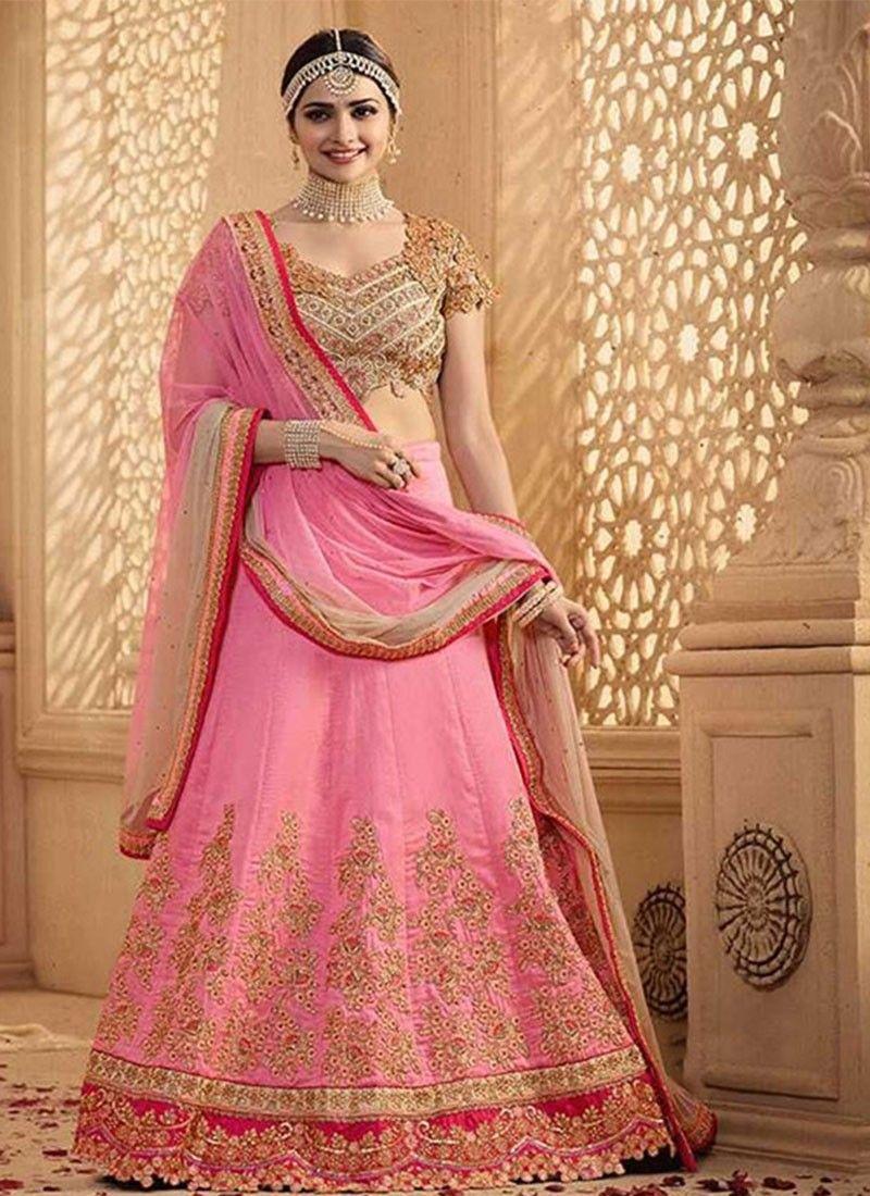 Pink Georgette Circular Lehenga | Bridal Lehenga Cholis Online ...