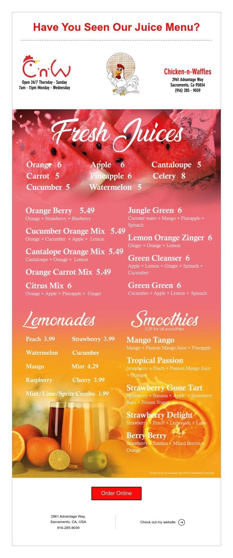 Have you seen our juice menu juice menu menu fresh juice