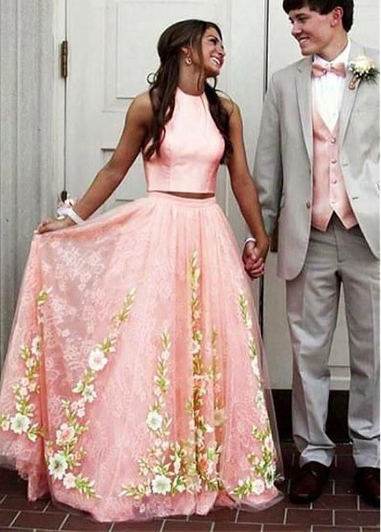 Two-piece Lace Appliques Coral Prom Dress | Lace applique, Prom and ...