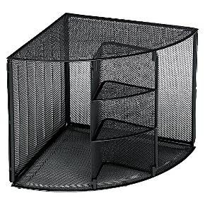 Turn An Unused Corner Into Useful Storage With This Contemporary Mesh Shelf Strong Enough For Binders Catalogs Desktop Shelf Rolodex Pretty Office Supplies