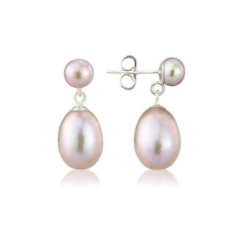 Pink Pearl On White Drop Earrings Silver Posts Total Height Of Large Diameter European Delivery Available