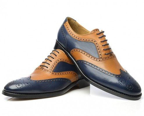 two tone full brogue oxford in blue & tan boxcalf leather