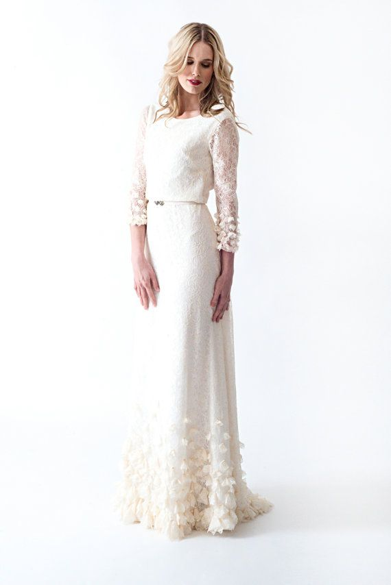 Lace Boho Vintage Wedding Dress with Sleeves Open by AnyaDionne ...