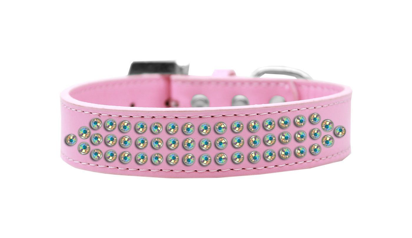 Bling Dog Collar - Three Row Aurora Borealis Crystal in Light Pink