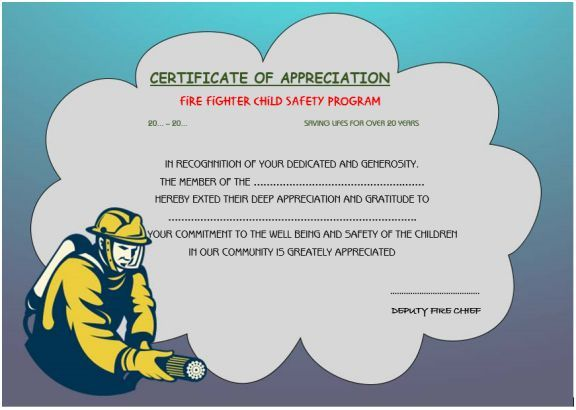 Firefighter Appreciation Certificate  Thank You Certificates