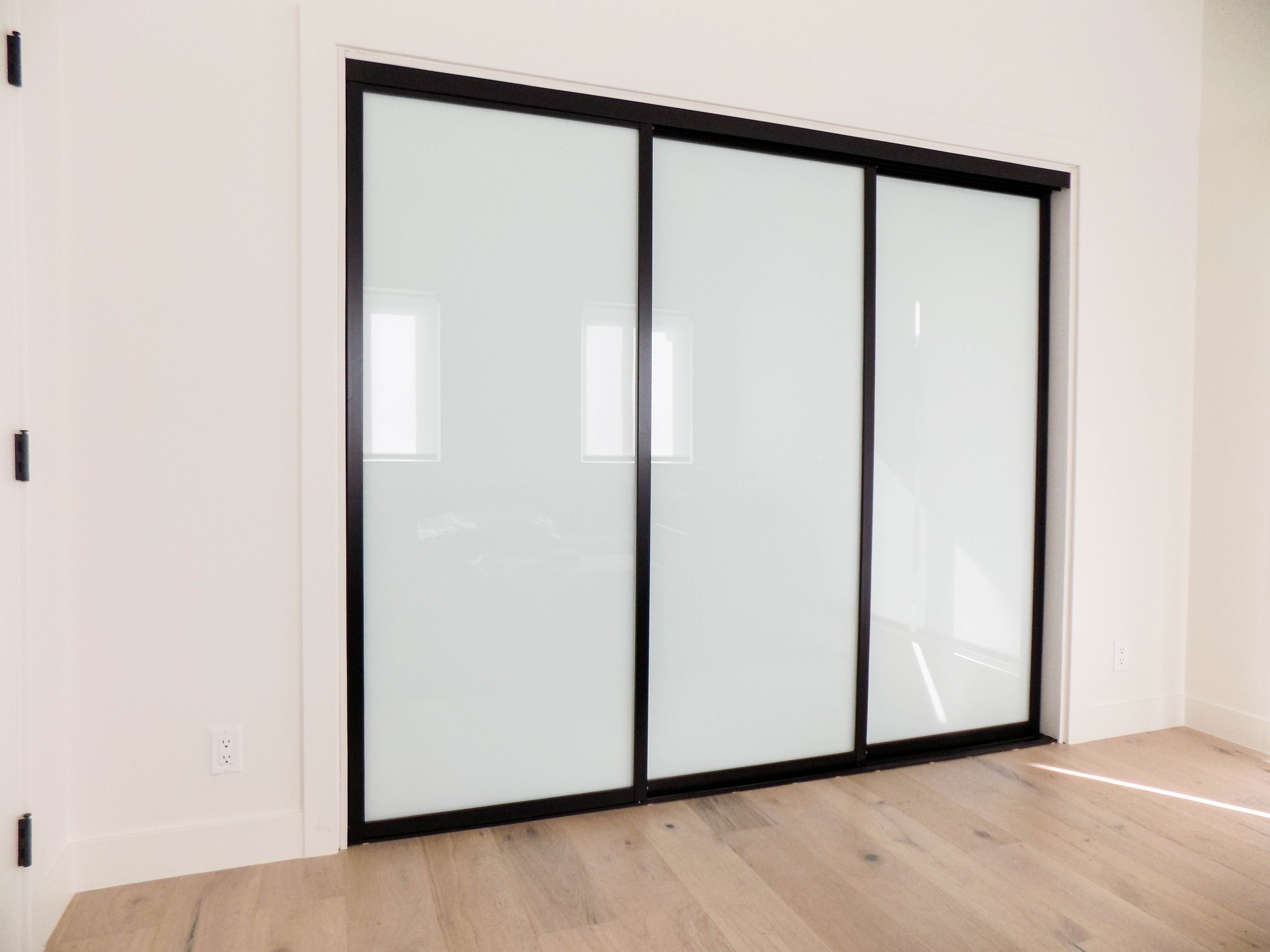Check Out These 3 Track 3 Panel Closet Doors With Black Frames