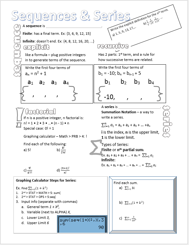 Arithmetic Sequences Doodle Notes  Arithmetic Precalculus And