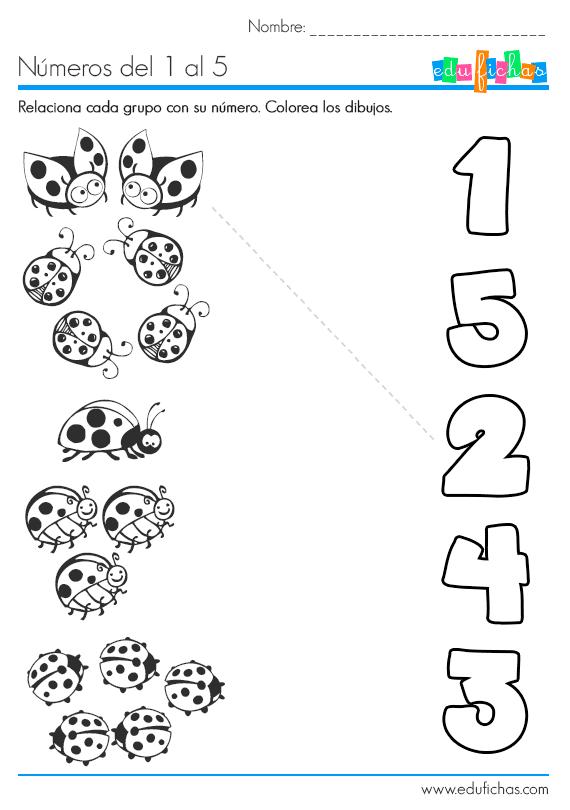 Ficha para aprender los números del 1 al 5. Aprender a contar y a ...