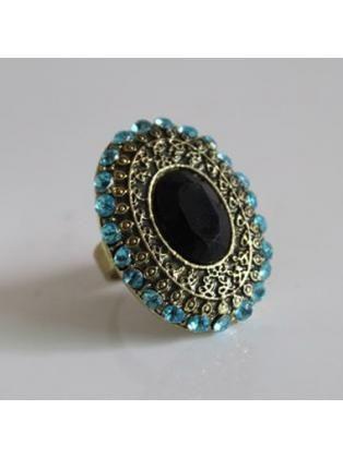 Simple Round Shape Blue Gemstone Decoration Retro Ring