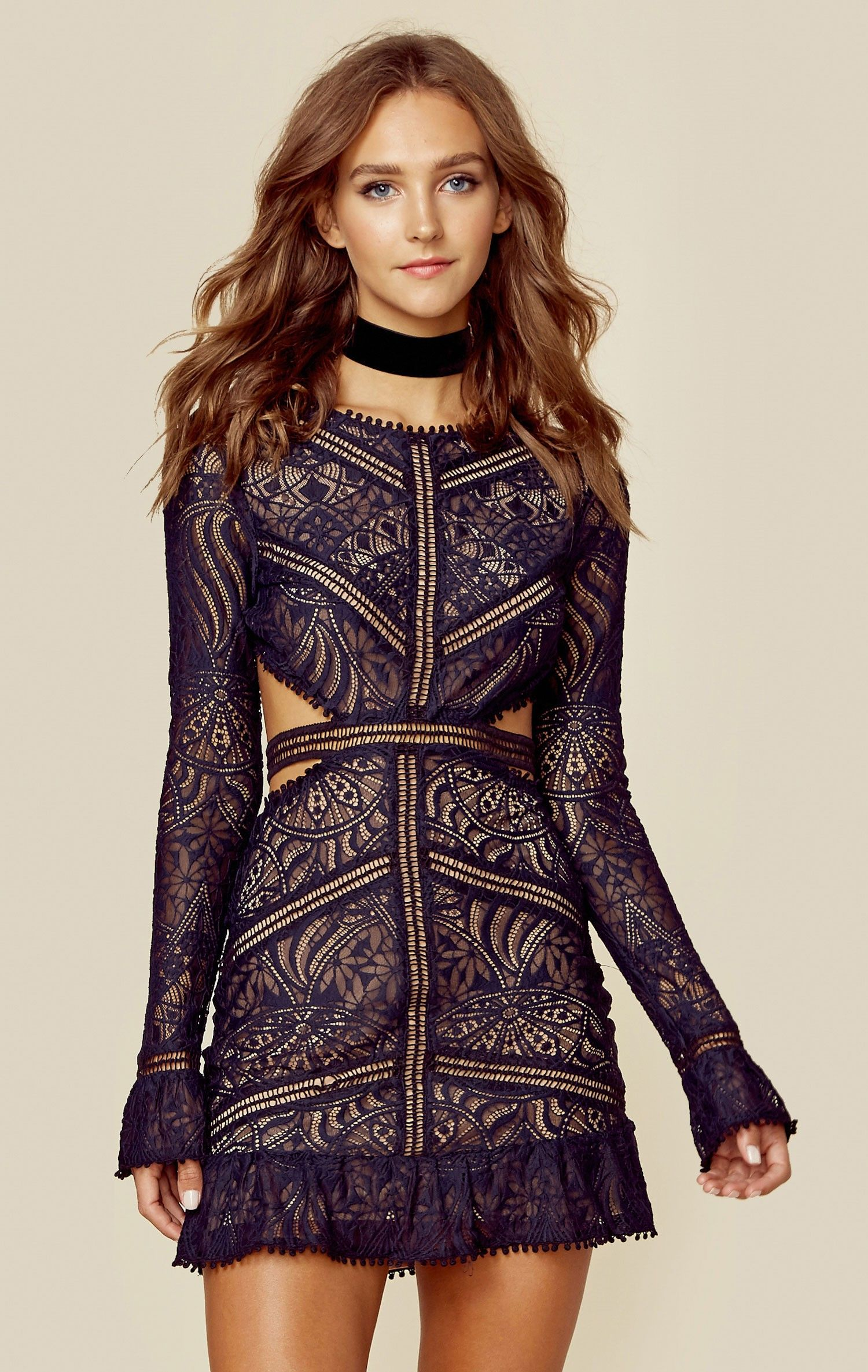 Emerie cutout dress embroidered lace delicate and bald hairstyles