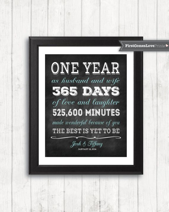 Chalkboard Style First Anniversary Gift For Husband Wife Personalized Art Print Any Colors 1st Him Her Paper