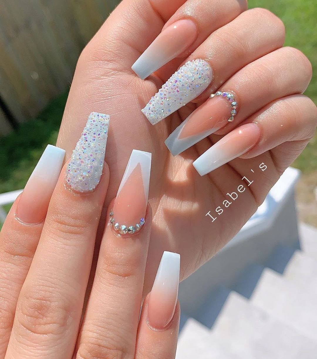 Nailfetishh On Instagram Snow Do You Prefer Summer Or Winter Isabelsnails Ombre Nails Glitter Best Acrylic Nails Winter Nails Acrylic