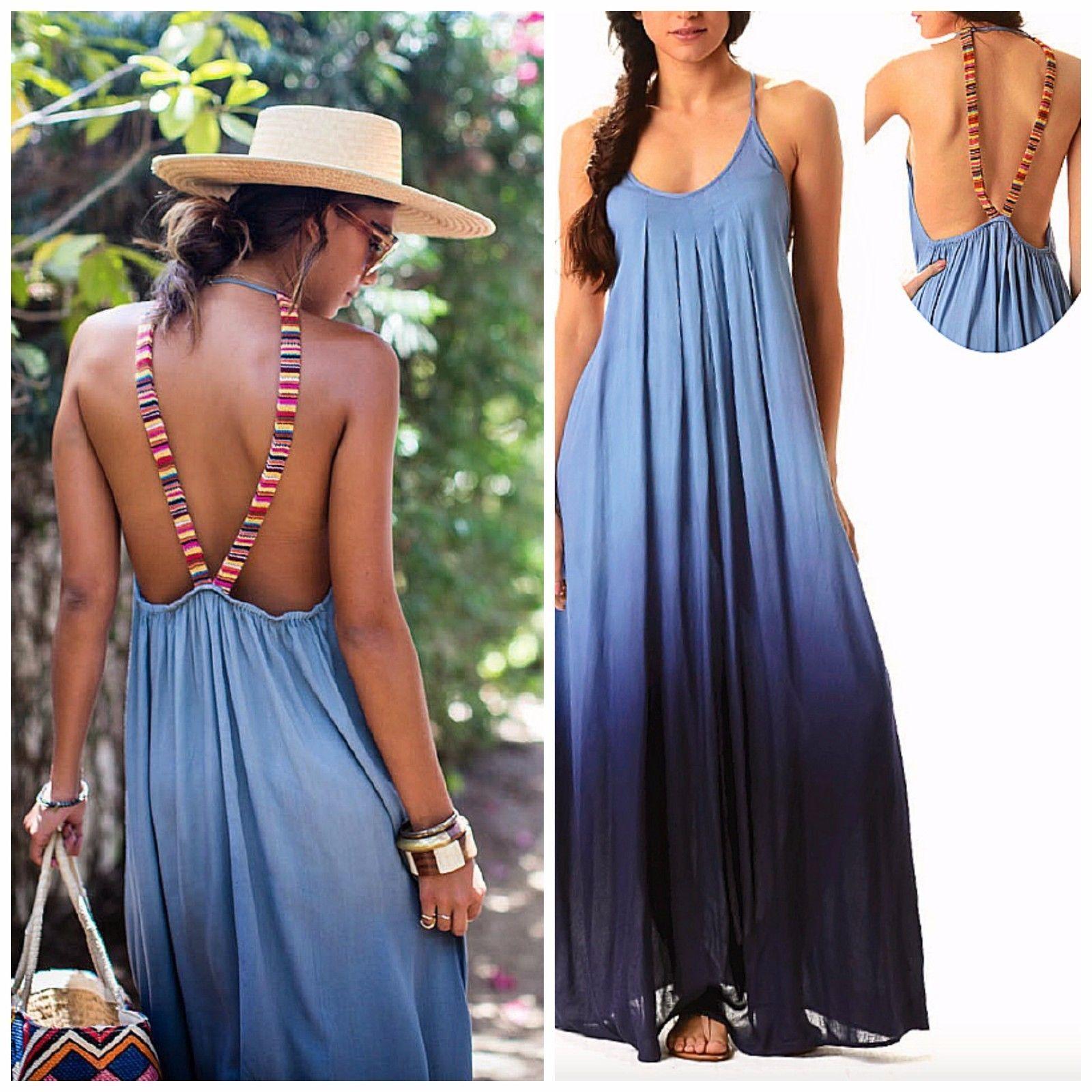 52e639e007 Raviya Denim Blue Ombre Maxi Dress Open Back Boho Tribal Straps Beach Cover  Up | eBay