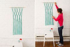 This DIY macrame wall hanging is the perfect way to personalize your living room. Use it to bring out a pop of your accent color in your space.