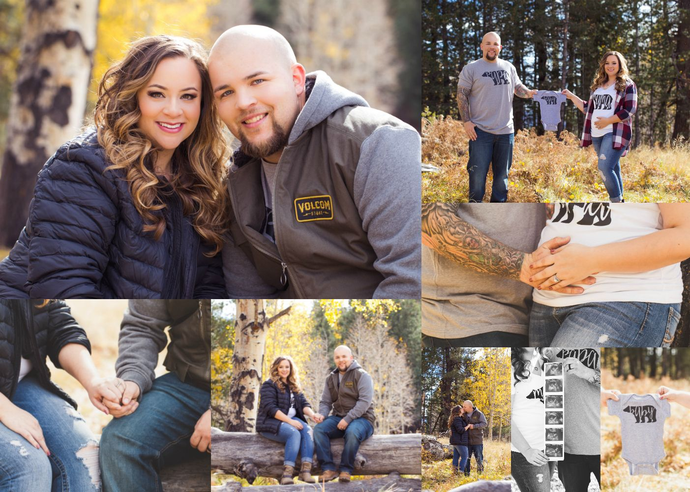 Adorable pregnancy reveal. Mama, Papa and baby bear, forested theme photography session.