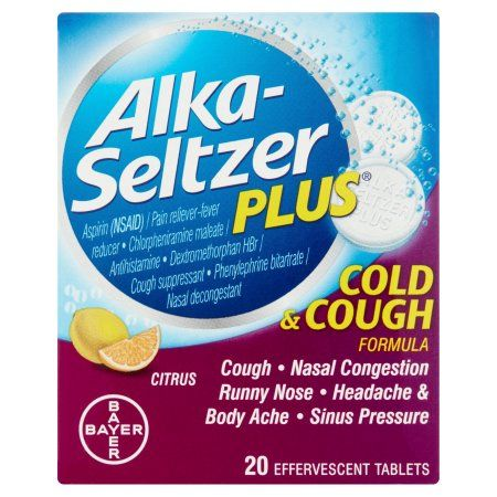 Alka Seltzer Plus Cold Cough Effervescent 20 Count Pack Of 2 Walmart Com Alka Seltzer Cold Medicine Alka Seltzer Plus