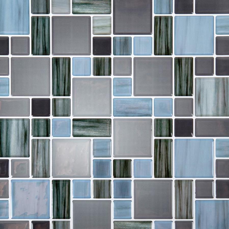 Truu Design Truu Design Self Adhesive Peel And Stick Multi Square Wall Tiles 10 X 10 In Dark Blue 6 Lowes Com In 2020 Mosaic Tiles Wall Tiles Peel Stick Backsplash