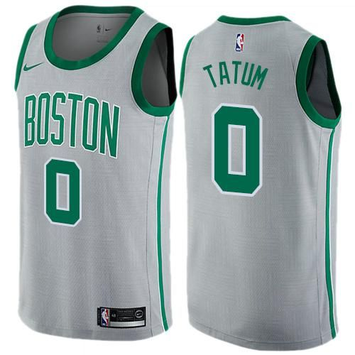 d1a94fa30 Men 0 Jayson Tatum Jersey City Edition Gray Boston Celtics Jersey Fanatics