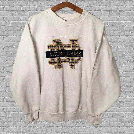 Rare 90/'s Vintage NOTRE DAME Fighting Irish Spell Out Sweatshirt Sz Large