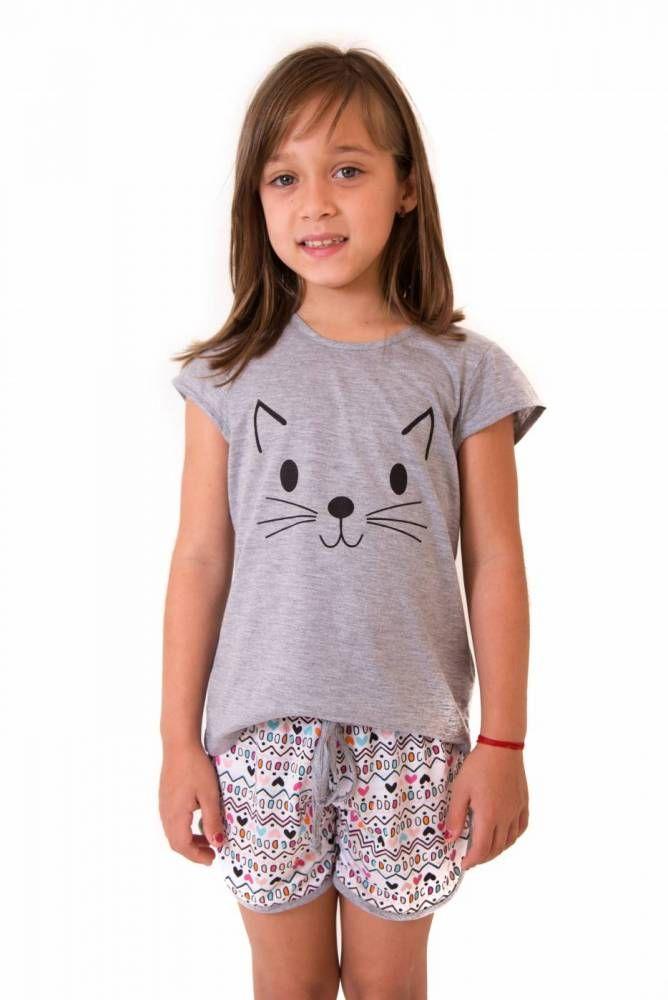 d8c2233d4 Pijama Feminino Infantil Curto com Shorts- Gato