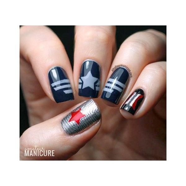 Captain America The Winter Soldier Nail Art ❤ liked on Polyvore ...