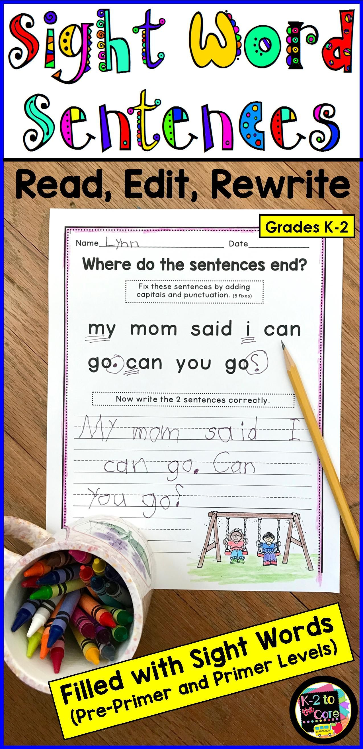 Sight Word Sentences Punctuation And Capitalization For