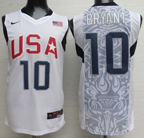 online store 62657 5a063 Nike 2008 Team USA #10 Kobe Bryant White Stitched NBA Jersey ...
