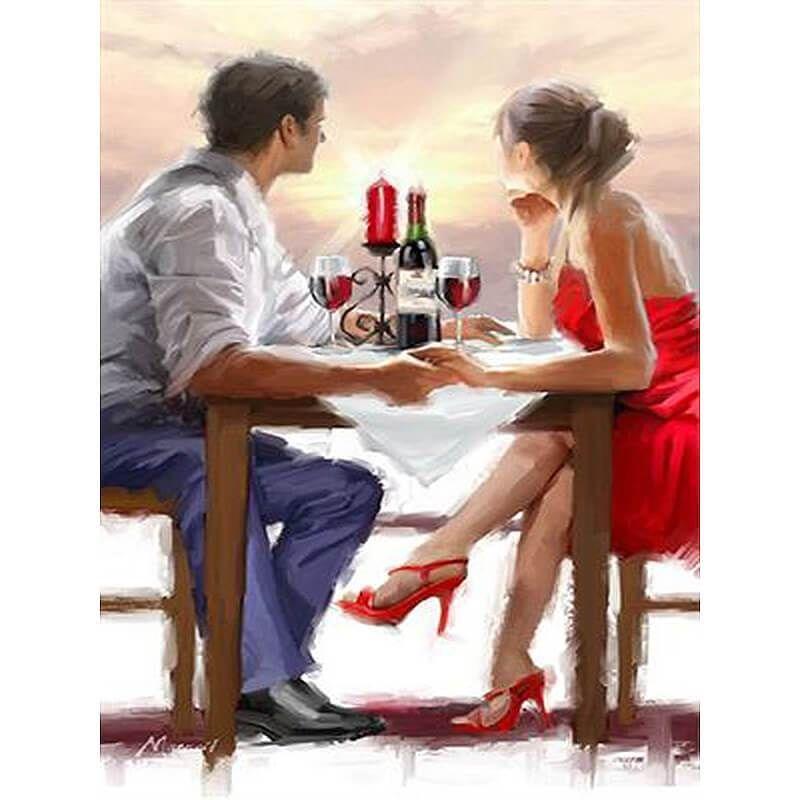 malen nach zahlen - romantischer weinabend | leinwandkunst