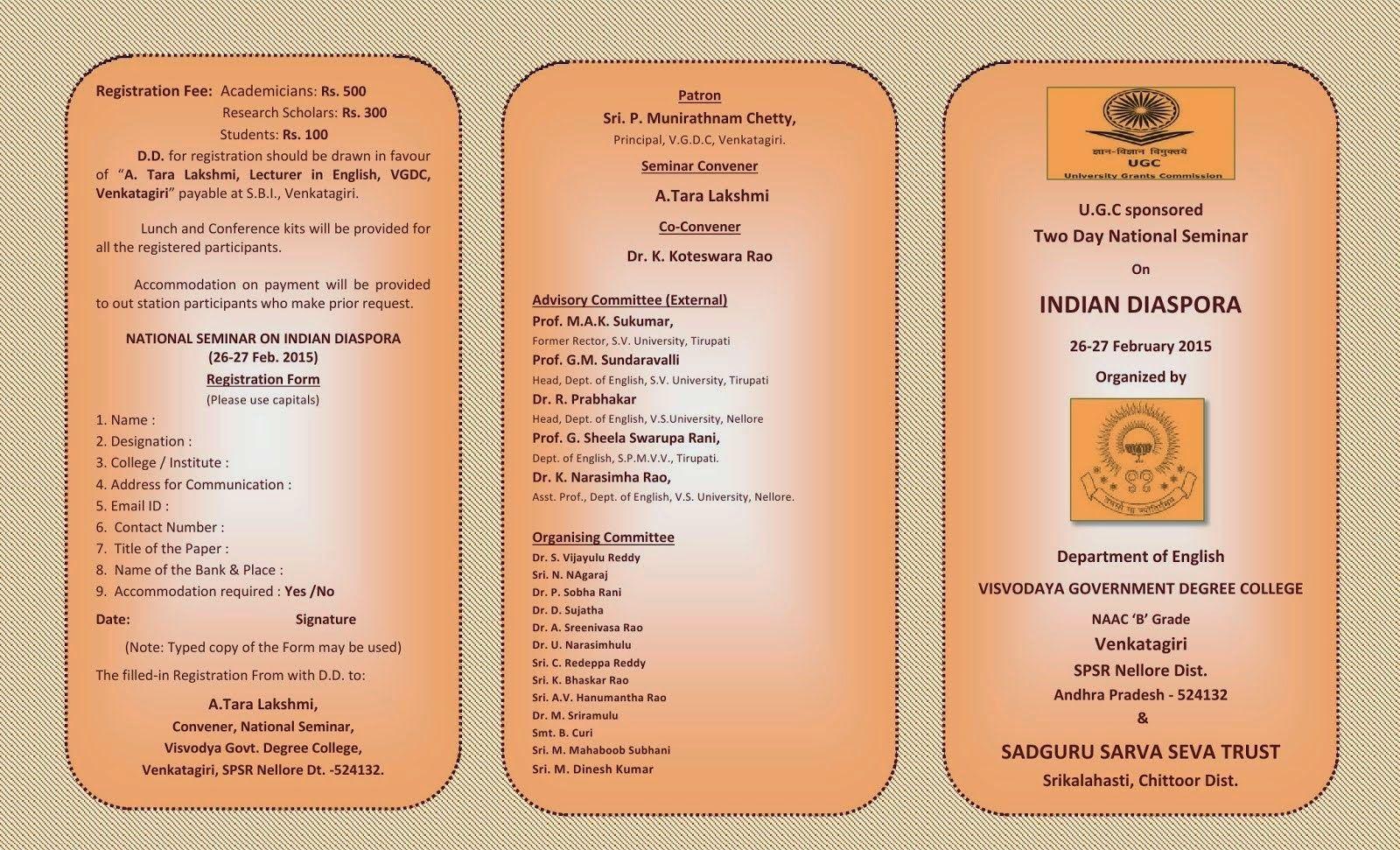 Ugc Net Set Slet English Literature Two Day National Seminar On Indian Diaspora Nell Seminar National Research Scholar