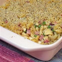 Macaroni and Cheese with Ham, Peas and Shallots - the vermouth makes this recipe; great for leftover Easter ham; kids loved it - KP