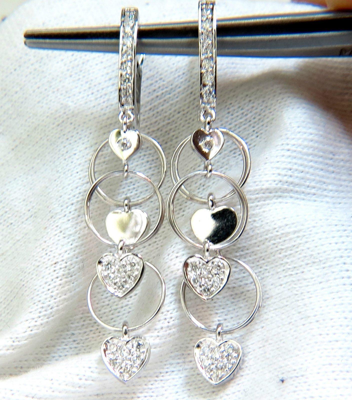 .70CT HEARTS & RINGS DIAMONDS DANGLE EARRINGS 14KT G/VS